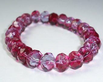 Pink Bead 6x8mm Czech Glass Faceted Rondelle VERY CHERRY (15)
