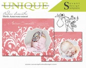 "Birth Announcement Card - Baby photography templates - 5x7 "" Andrea Samantha"""