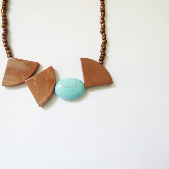 Boho Stone Necklace, Brown Triangles, Turquoise Oval, Geometric Beaded Necklace, Copper and Light Blue