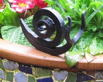 Hand Forged Snail Sculpture, Garden Art, Blacksmith Made