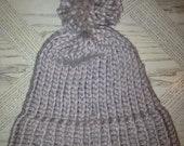 Tan, Soft Wool, Hand-knit Beanie