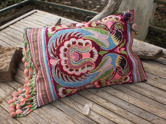 Hmong Hilltribe Vintage Upcycled HandMade Cushion Cover Made From Embroided Hmong Apron