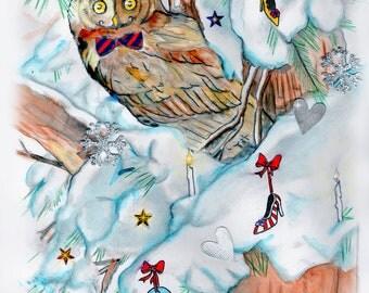 Christmas owl print