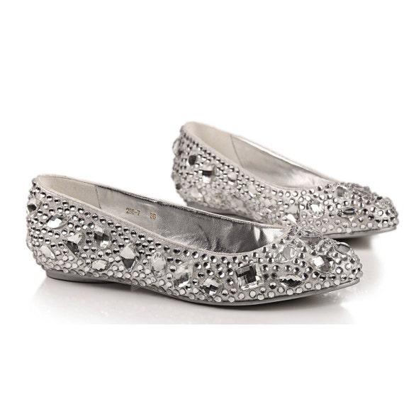 comfortable flats silver metallic wedding shoes
