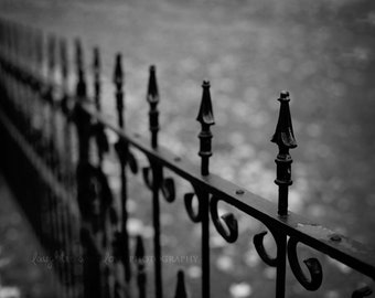 Black and White Wrought Iron Fence Photo, Gothic Photography, Dreamy Halloween Vampire Dark Gray Print, Architecture Home Decor Wall Art