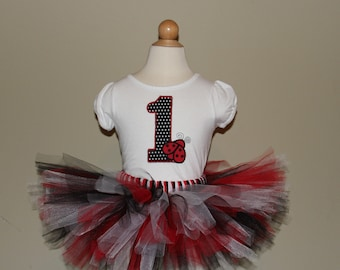 Cute Lady Bug 1st Birthday Tutu Set (Choose from 2 different color schemes)