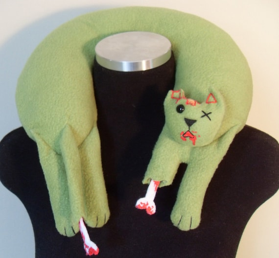 Zombie Cat Travel Neck Pillow with Gore