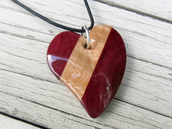 Wood Heart Pendant - Sycamore & Brazilian Purpleheart Wood
