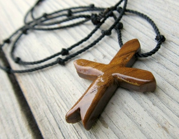 Wooden Cross Necklace - Hand Crafted Teak Cross - Mens Jewelry