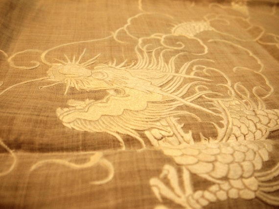 Handmade Chinese Art Linen Wall Panel by luckysusyvintage