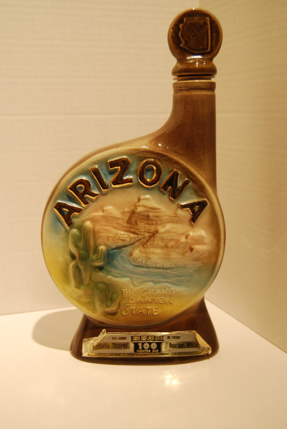 Vintage 1968 Jim Beam Arizona Liquor Decanter Bottle