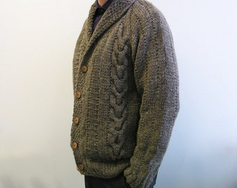 hand knitted mens cardigan 100% wool taupe