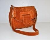 Vintage Leather Purse.  Simple Daniel Boone Style Saddle Suede