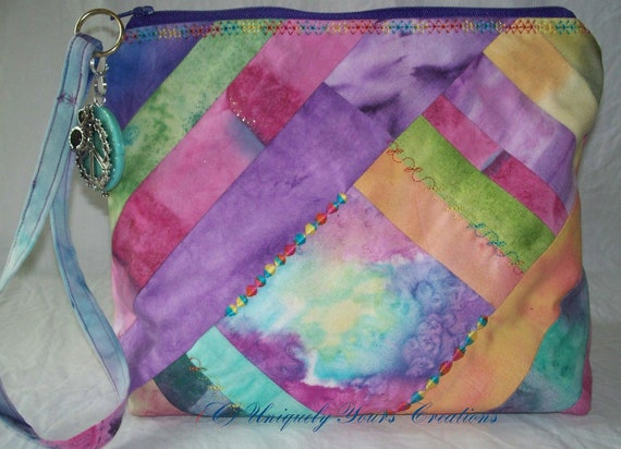 Wristlet zippered Clutch  - Hand Painted Fabric - Hippie zipper pull