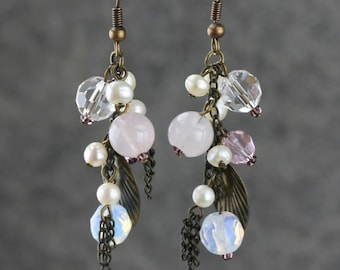 Rose quartz copper chain pearl dangling chandelier earrings Bridesmaids gifts Free US Shipping handmade Anni Designs