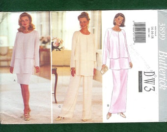 Butterick 3899 Evening, Palazzo Pants, Top, Long or Short Skirt, Designed by DW3 for David Warren, UNCUT, Size 14, 16, 18