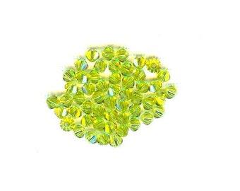 60 Pieces Swarovski Crystal Bicone Light Olivine 4mm