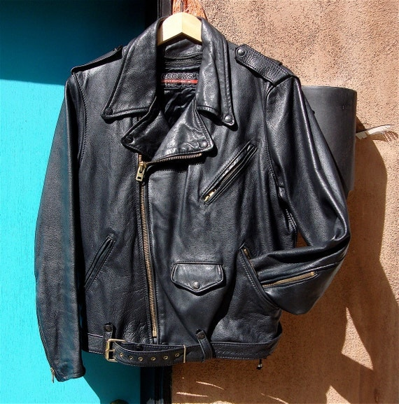 Vintage Brooks Leather Motorcycle Jacket With Zip Out Lining
