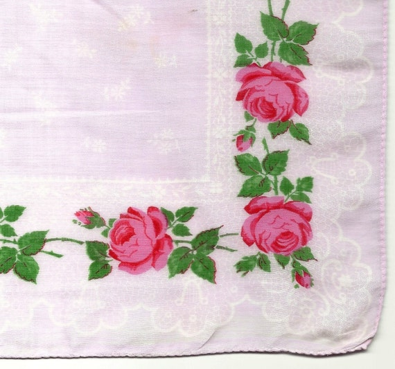 Reserved for muswellmum London Pink, Green, and White Batiste Handkerchief with a Rose Motif