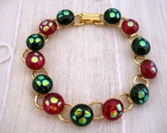 Fused Glass Bracelet, Dichroic Fused Glass, Christmas Red and Green Dots