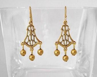 Victorian Gold Ball Chandelier Earrings
