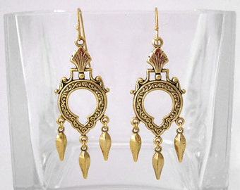 Victorian Keyhole Chandelier Earrings with Gold Dangles