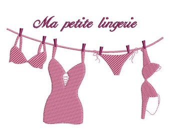 Instant download Laundry lingerie machine embroidery design.
