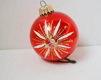 Red  Vintage Christmas Ornament West Germany Glass Gold Glitter Hand Painted  Pink Rosebuds