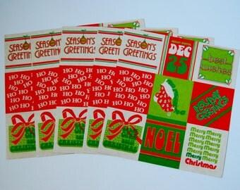 Vintage 5 Sheets Christmas Stickers Seals Green Red 1980 Noel Seasons Greetings