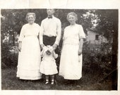 Family Portrait- Early 1900s Black and White Vintage Photograph