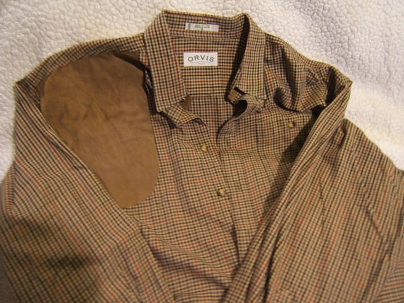 Mens Orvis Vintage Hunting Shirt With Gun Patch In Micro Suede