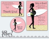 Pregnant Surfer Girl Silhouette Baby Shower pack printables