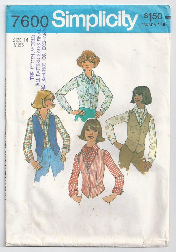 1976 Shirt With Band Button Closing Vest And Ascot Size 14  Bust 36 Unused Simplicity 7600 Sewing Pattern