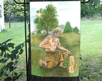 Ash Card, Celtic Ogham Garden Flag