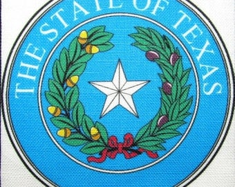 TEXAS STATE SEAL - Vest, Bag, Backpack, Jacket - Printed Patch - Sew on - Display Your Travels