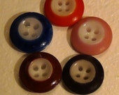 Set of Five Nearly Perfect Vintage or Antique China Inkwell Buttons in Five Different Colors