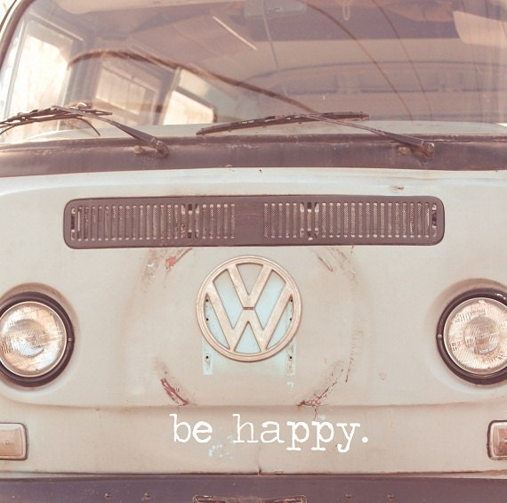Retro Car Photo,  Be Happy, Funky Vintage Bus, Hippie Print, Pastel Blue and White,  Peace Love Grooviness, Large Wall Art, Fine Art Print