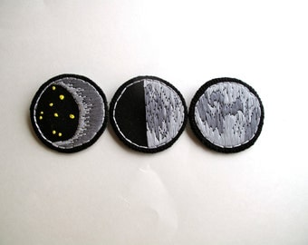 Moon phases brooch set of three crescent moon full moon and quarter moon hand embroidered