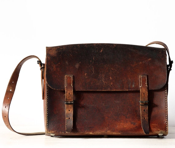 Amazing old real leather French POSTMAN WORKBAG - embossed PTT Shabby Chic