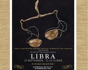 """Illustrated Zodiac Libra the Scales 8"""" x 10"""""""