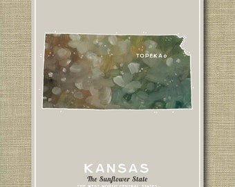 Kansas the State - Illustrated States of America 11 x 14