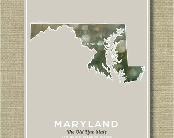 Maryland State - Illustrated States of America 11 x 14