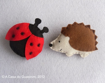 Ladybug & Hedgehog - Set of 2 felt Brooches