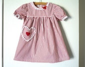 Red Candy Striped Sweet Heart Girl's Dress, Baby Toddler Girl