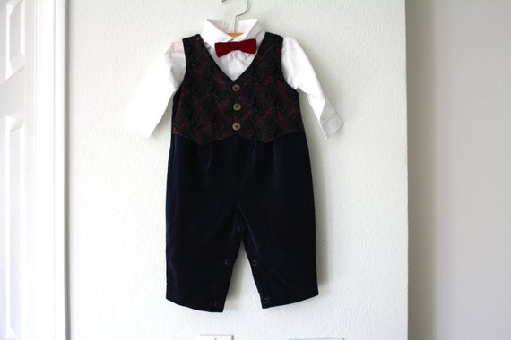Baby Boy Velvet Tuxedo Suit With Bow Tie By 1sweetdreamvintage