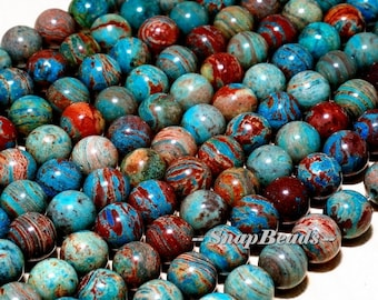 6MM Calsilica Gemstone, Turquoise Blue Brown, Round 6MM Loose Beads 15.5 inch Full Strand (10233845-43)