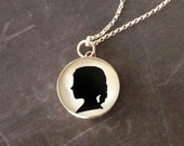 Mother's Day Large Size Sterling Custom Child or Pet Silhouette Necklace for Mother or Grandmother