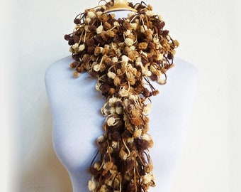 CAFE AU Latte pom pom scarf - chunky lariat - accessories - pompom - gift for her - cocoon