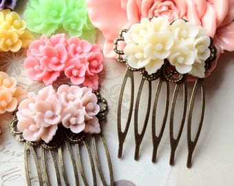 27 x 39 mm Handmade Antique Bronze Resin Flower Hair Comb