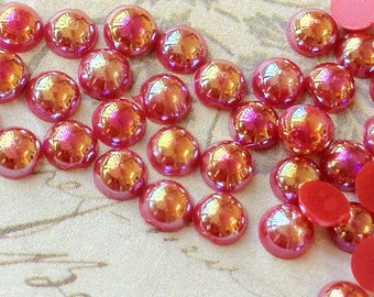 4 mm AB Red Colour  Flat Back Pearl Cabochons (.mmam)